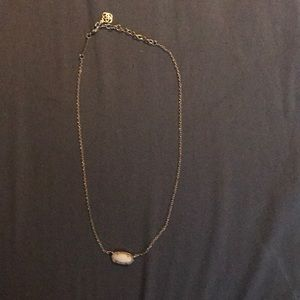 Elisa Gold Pendant Necklace In White